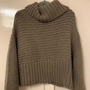 Oversized knit turtleneck/cowl neck sweater